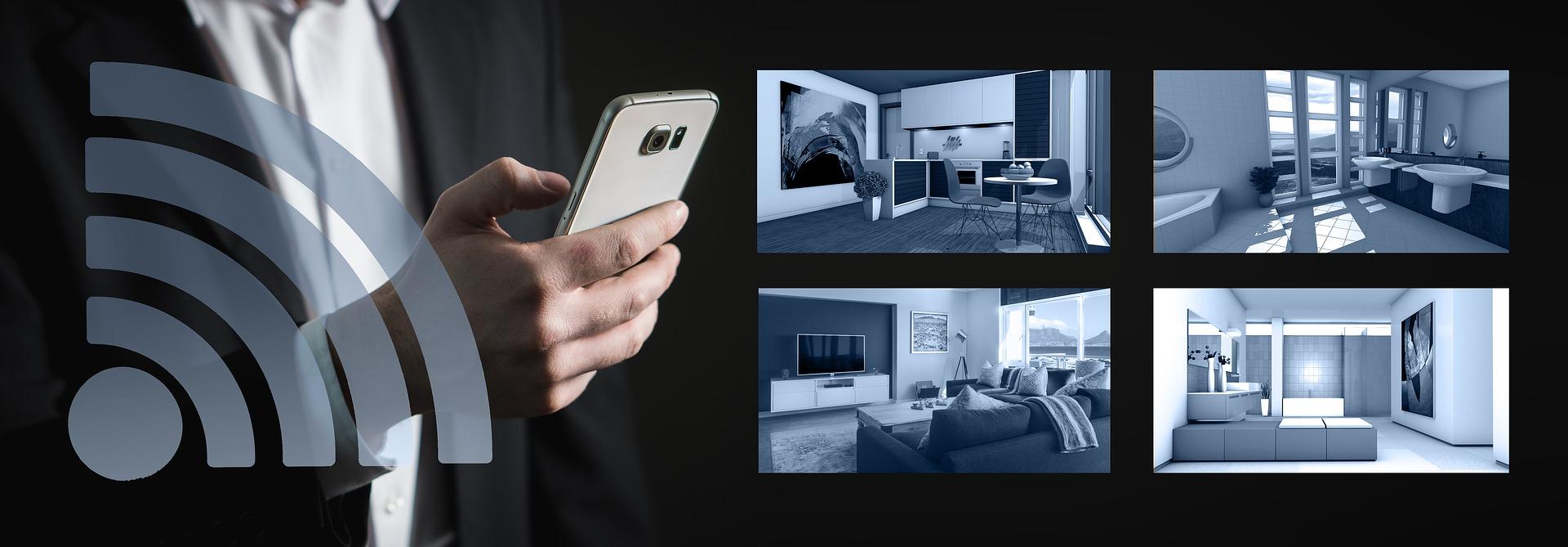 Bild zeigt Smartphone in der Hand einer Person, die per App auf Kamerabilder live zugreift