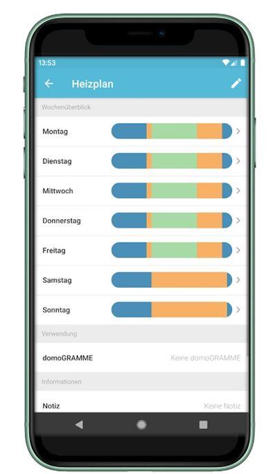 Iphone Schwarz mit DONEXON Smart Home App und intelligenten Heizplan