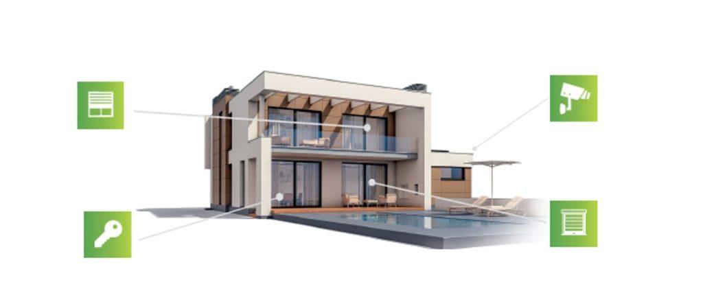 Bild zeigt modernes Haus mit ICONS für Sicherheit